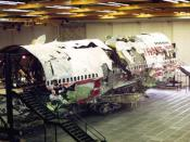 This photograph is part of the National Transportation Safety Board accident report for TWA Flight 800. The date on the photograph shows as May 20, 1997. It is figure 29 of the report, which is described as: A photograph of the large three-dimensional rec
