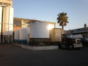 The delivery area of the Gordon Biersch Brewing Company brewery and bottling plant in San Jose, California.