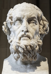 Portrait of Homer, known as Homer Caetani. Pentelic marble, Roman copy of the 2nd century CE after a Greek original of the 2nd century BC. From the Palazzo Caetani in Rome.