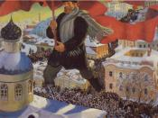 Bolshevik by Boris Kustodiev, a visual representation of the Russian Revolution