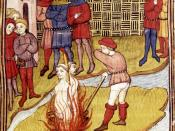 Two Templars burned at the stake, from a French 15th century manuscript