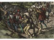 Engraving of Spaniards enslaving Native Americans by Theodor de Bry (1528–1598), published in America. part 6. Frankfurt, 1596.