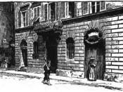 Depiction of Amerigo Vespucci's birthplace in Florence, Italy. Black-and-white illustration. From The Historians' History of the World Volume IX page 645.