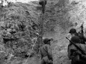 Normandy Invasion, June 1944 U.S. Army Rangers show off the ladders they used to storm the cliffs at Pointe du Hoc, which they assaulted in support of