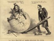 A political cartoon of Andrew Johnson and Abraham Lincoln, 1865. The caption reads (Johnson to the former rail-splitter): Take it quietly Uncle Abe and I will draw it closer than ever!! (Lincoln to the former tailor): A few more stitches Andy and the good