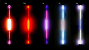 Spectrum = gas discharge tubes: the noble gases: helium He, neon Ne, argon Ar, krypton Kr, xenon Xe. Used with 1,8kV, 18mA, 35kHz. ≈8