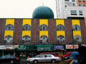 English: Looking south at Malcolm Shabazz Mosque on West 116th Street in Harlem, New York City, US. Formerly was known as Mosque No.7.