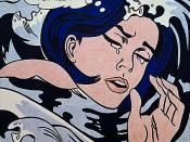 Roy Lichtenstein's Drowning Girl (1963), adapted from the lead story in Secret Hearts #83, lettered by Schnapp.