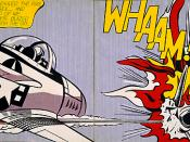 Whaam!, a 1963 pop art painting by Roy Lichtenstein, incorporates onomatopoetic comics lettering.