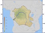 English: Course and Watershed of the Congo and Lualaba River with topography shading. Deutsch: Verlauf und Einzugsgebiet von Kongo und Lualaba mit Reliefschattierung.