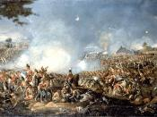 Battle of Waterloo, painted by William Sadler (1782-1840). Oil on canvas in its original plaster frame. 32 x 69½ in. 81 x 177 cm