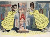 Editorial cartoon by Leon Barritt, 1898. Newspaper publishers Joseph Pulitzer and William Randolph Hearst, full-length, dressed as the Yellow Kid (a popular cartoon charicture of the day), each pushing against opposite sides of a pillar of wooden blocks t