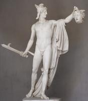 Perseus holding Medusa's head.