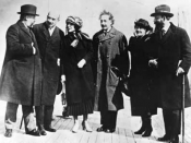 Albert Einstein and his wife Elsa Einstein, and Zionist leaders, including future Chaim Weizmann and Vera Weizmann, Menahem Ussishkin, and Ben-Zion Mossinson on arrival in New York City in 1921