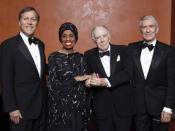 English: National Endowment for the Arts Chairman Dana Gioia and the first class of NEA Opera Honorees: diva Leontyne Price, composer and librettist Carlisle Floyd, and impresario Richard Gaddes. Not included in the photo was the fourth honoree, conductor