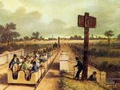 Inaugural journey of the Liverpool and Manchester Railway, Painting by A.B. Clayton, 1830