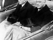 English: Franklin Delano Roosevelt and Herbert Hoover in convertible automobile on way to U.S. Capitol for Roosevelt's inauguration, March 4, 1933