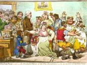 1802 caricature of Jenner vaccinating patients who feared it would make them sprout cowlike appendages.
