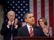 English: President Barack Obama delivers the 2010 State of the Union address a joint session of the 111th United States Congress on January 27, 2010 (audio file). Deutsch: US-Präsident Barack Obama während seiner Rede zur Lage der Nation vor dem 111. Kong