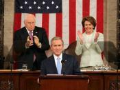 President George W. Bush delivering the 2007 State of the Union Address, with Vice President Cheney and Speaker of the House Pelosi behind him.