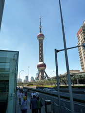 The Oriental Pearl Tower in Shanghai, China.