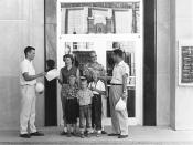English: United States Army Corps of Engineers 1958 photo of Tom Brokaw (left) greeting the 20,000th visitor to the Gavins Point Dam Original caption: Tom Brokaw (left) and Gavins Point Area Engineer Robert E. Roper (right) greet the 20,000th visitor to t