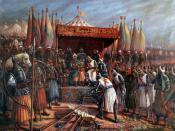 English: Saladin and Guy de Lusignan after battle of Hattin in 1187
