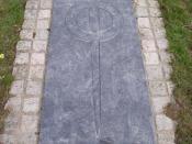 English: Cofeb Llewelyn ein Llyw Olaf. A modern memorial slab, laid in the ruins of the Abbey at Abbeycwmhir, to commemorate Llewelyn ap Gruffydd, Prince of Wales, who was killed in 1283.