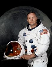 Flag of the United States on American astronaut Neil Armstrong's space suit