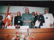 Jagadguru Ramabhadracharya being honoured by the Shri Vani Alankaran award