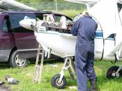 English: Field maintenance is conducted on a Cessna 172.