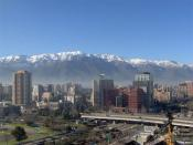 English: Photo from the modern Santiago de Chile with the Andes Mountains as a background.