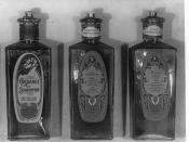 English: Bottles of shampoo and lotions manufactured by the C.L. Hamilton Co. of Washington, D.C.
