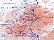 Operational map of the German Ardennes Offensive, with the location of major German units.