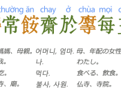 Sentence example used to describe Vietnamese language vocabulary. The orange colour words represent native Vietnamese words, whilst the green words represent those belonging to the Sino-Vietnamese vocabulary.