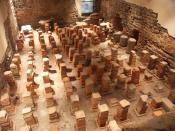 Caldarium. The floor has been removed to reveal the empty space which the hot air flowed through to heat the floor