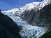 Franz Josef Glacier photographed from the valley floor