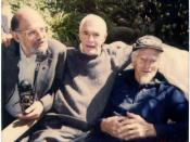 Polaroid photograph taken Easter Sunday 1991, at the home of Dr. Oscar Janiger. From left to Allen Ginsberg, Timothy Leary, and John C. Lilly, M.D.