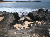 Black igneous rocks (volcanic) on Ascension Island