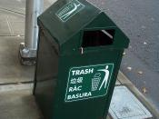 A trash can in Seattle indicating