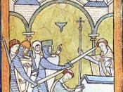 English: Earliest known portrayal of Thomas Becket's murder in Canterbury Cathedral. Polski: Morderstwo Tomasza Becketa, najwcześniejsze znane przedstawienie z XIII w.
