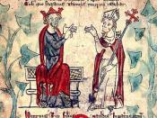 Henry II with Thomas Becket, from a 13th-century illuminated manuscript