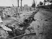 English: Confederate dead behind the stone wall of Marye's Heights, Fredericksburg, Va., killed during the Battle of Chancellorsville. Note: There were two battles at Marye's Heights. The first was the Battle of Fredericksburg in December 1862, the second
