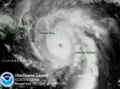 Hurricane Lenny on November 17, 1999 at 1545 UTC, as imaged by NOAA's GOES-8 weather satellite. Maximum sustained winds were greater than 115 knots and the minimum central pressure was lower than 946 mb.
