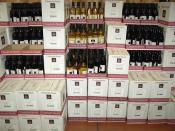 Charles Shaw wine displayed in a Trader Joe's grocery market.