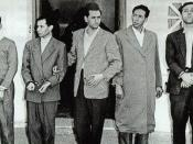 Delegation of the principle leaders of the FLN (left to right: Mohamed Khider, Mostefa Lacheraf, Hocine Aït Ahmed, Mohamed Boudiaf, and Ahmed Ben Bella). Taken after their 22 October 1956 arrest by the French Army following the interception of their (Moro