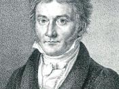 Lithograph showing a portrait of the German mathematician Carl Friedrich Gauss at the age of 50