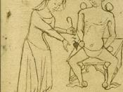 Female physician caring for a patient. She is dressed in the height of contemporary fashion.