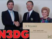 English: Dennis John Gazak awarded the Top Salesman for US Sales by Tektronix President and CEO Earl Wantland, a Fortune 250 Corporation.