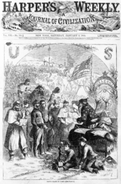 January 3, 1863 cover of Harper's Weekly, one of the first depictions of Santa Claus
